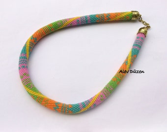 AN009 - DISCOUNT - Bead Crochet Necklace - Bright Colors Summer Necklace - Handmade Beadwork Necklace - Bright Colors Bead Necklace