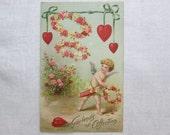 Vintage Postcard Antique Valentine Cherub Hearts German Germany Children Child Garlands of Affection