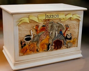 Kids Wood Toy Box Personalized with their name
