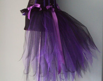 Burlesque Black Purple Bustle Tutu Belt US 4 10 UK 6 12 Halloween Party