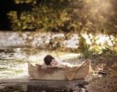 Canoe Prop DOUBLE SIDED, Boat Prop, Newborn Photography Prop, Boat Photo Prop, Newborn Photo Prop
