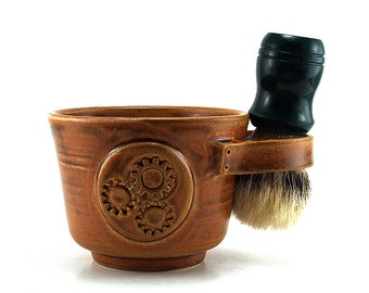 Steampunk Shave Mug: Ready to Ship Brown Mens Husband Gift,  Wet Shaving, Steam Punk Pottery for Men - Brush NOT Included