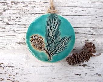 Winter decor, ceramic ornament, green turquoise bronze decoration, hemp twine