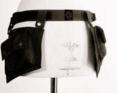 Black Utility Pocket Belt With 2 Pockets Water Resistant