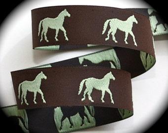 "Horse Ribbon 1"" x 10 yds, Brown and Celery Horse7 - Wovn Jacquard Ribbon"