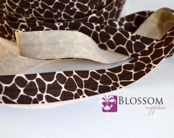 CLEARANCE 2 or 5 Yard Increments - GIRAFFE 5/8 Inch Printed Fold Over Elastic - foe - Brown - Animal Print - DIY Baby Headbands Hair Ties