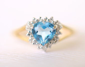 SALE /// 1980s vintage / Blue topaz and diamond 9k gold ring . engagement wedding ring // I HEART YOU
