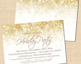 White Gold Sparkles Holiday Party Invitations, Christmas, New Years (7x5, Landscape): Text-Editable in Word, Printable Instant Download