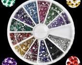 Fashion 2000pcs 1mm Nail Art 12Colors Decoration Rhinestones For UV Gel Acrylic