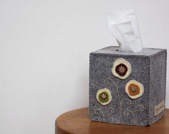 Nikkie's Felt Poppy Tissue Box Cover-Light Gray