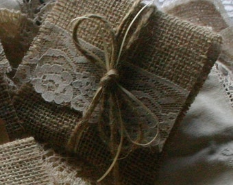 Burlap and lace gift bags for fovers and appreciation