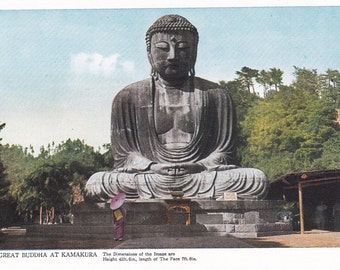 The Great Buddha at Kamakura, a vintage 1950's postcard, made in Japan