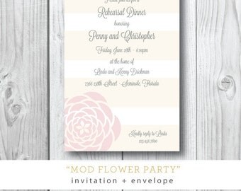 Mod Flower Party | Rehearsal Dinner, Shower, Tea Party Stripe Invitation | Printed or Printable by Darby Cards