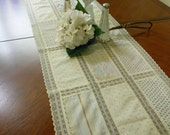 Shabby Chic Calico and Lace Wedding Table Runner Romantic Gift Table Cloth