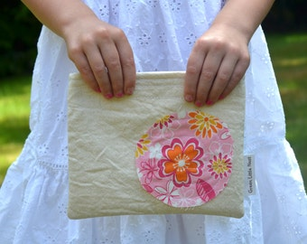 Reusable Snack Bag, Shabby Chic Sandwich Bag, Cotton Lined Eco-Friendly Snack Bag, Back To School