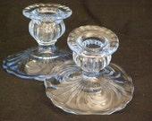 "Vintage Cambridge Moonlight Blue Caprice Glass Shell Swirl Base Bulb Top Candlesticks Beautful Pair 2.25"" Tall"