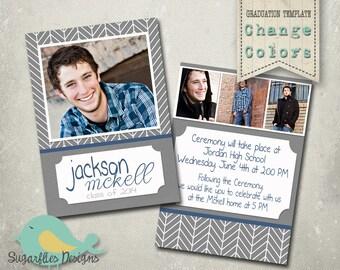 Graduation Announcement PHOTOSHOP TEMPLATE - Senior Graduation 29