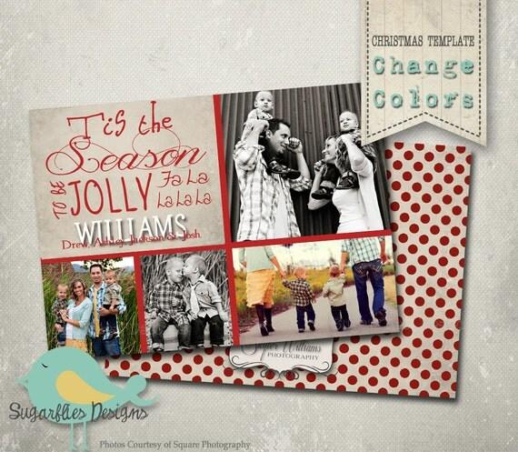Christmas Card PHOTOSHOP TEMPLATE - Family Christmas Card 38