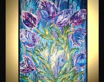 Original Large Abstract Painting Modern Contemporary Canvas Art Blue Purple SPRING SYMPHONY Flowers 36x24 Palette Knife Texture Oil J.LEIGH