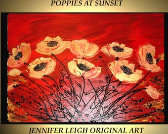 Original Large Abstract Painting Modern Contemporary Canvas Art Gold Red Black SUNSET POPPY Flowers  36x24 Palette Knife Texture Oil J.LEIGH