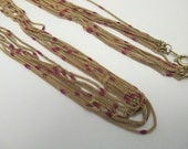 Vintage Fine gold multi 8 strand chain necklace with tiny red beads no markings 24 inch