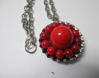 """Handmade upcycled vintage red glass beaded earring bottlecap pendant necklace with 19"""" silver tone chain and lobster clasp closure"""