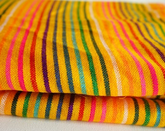 "Mexican Fabric Bright Yelow Striped 31"" width by one yard"
