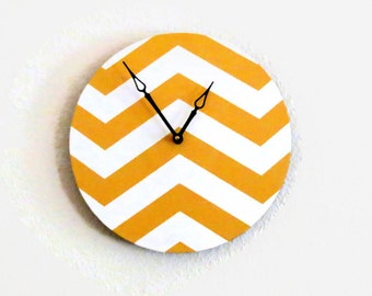 Chevron Wall Clock - Home Decor - Decor and Housewares - Mustard Yellow - Home and Living -  Homespunsociety