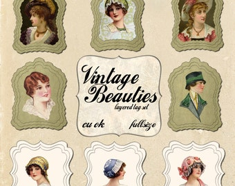 Vintage Beauties Layered Tags for Digital Scrapbooking