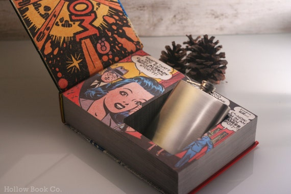 Hollow Book Safe and Hip Flask - The Golden Age of DC Comics