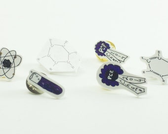 Micro Pin Perfect Present for Scientists, Researchers, Drs, PIs Science Themed Art Brooch Atom Carbon PCR Test Tube