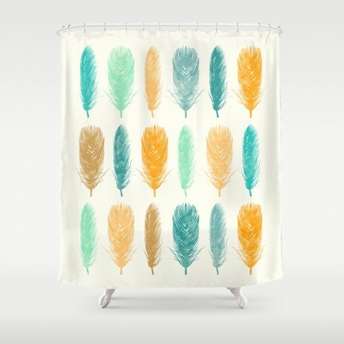 Feathers Shower Curtain Yellow Sea Green Teal Orange By RoveStudio