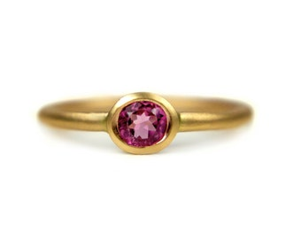 14k yellow gold pink tourmaline handmade engagement ring. Vivid pink faceted tourmaline, modern low profile, anniversary, gift for her