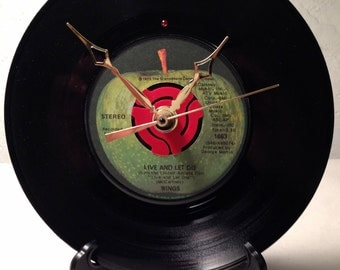 "Recycled PAUL McCARTNEY & WINGS 7"" Record / Live And Let Die / Record Clock"