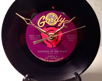 "Recycled MARTHA and The VANDELLAS 7"" Record / Dancing In The Street / Record Clock"