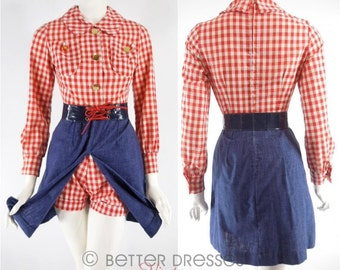 Vtg 60s Denim & Red Gingham Dress and Shorts Playsuit - xs, sm