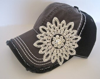 Two Tone Grey and Black Trucker Baseball Cap Hat with Gorgeous All Rhinestone Flower Accent
