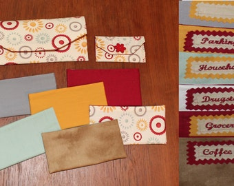 Fabric Cash Envelope system with EMBROIDERED LABELS - maroon flower shop (can be used with Dave Ramsey System)