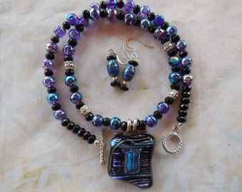REDUCED!  20 Inch Gorgeous Iridescent Dicroic Blue and Turquoise Glass Pendant Necklace with Earrings