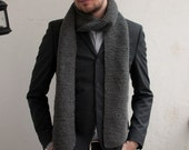 Long dark grey scarf, handmade, very warm and soft, for men & women, alpaca wool, hipster, soft grunge