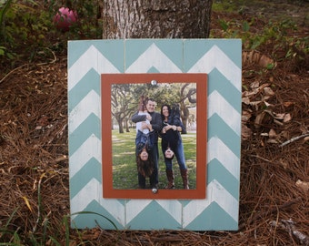 Picture Frame, Distressed Picture Frame, 8x10 Frame, Chevron Picture Frame,  8x10 Picture Frame, Wood Planks, Chevron Frame, Coral and Aqua