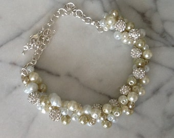 Pearl and Rhinestone, Statement Necklace, White Beige and Ivory, Bridesmaids Necklace, Wedding Necklace