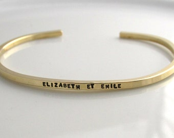 "Personalized Skinny Cuff Hand Stamped Brass Bracelet ""Gold"" Stacking Bracelet"