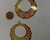 Laser Lace Filigree Finding (50mm) Gold Plated Brass (2)