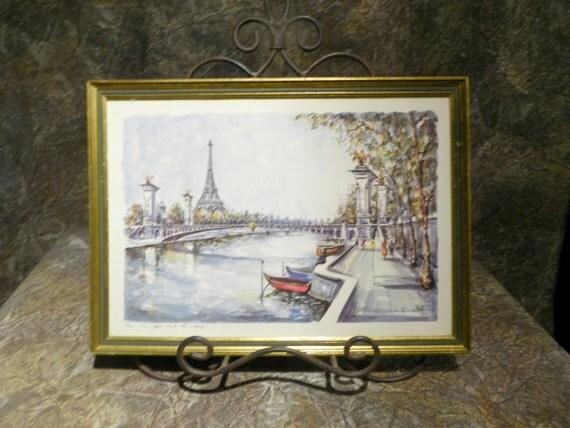 Paris Tour Eiffel Port Alexandar Iii Watercolor Print By G