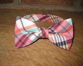 Coral Madras Plaid Boys Bow Tie