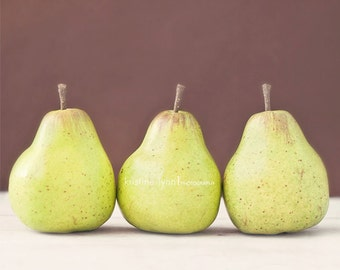 pear print, 8x10, fine art print, home decor, kitchen, fruit, still life photography, green, brown, wall art