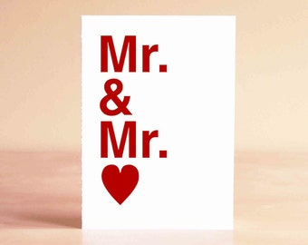 Gay Wedding Card - Gay Wedding Gift - Gay Engagement Card - Mr. & Mr.