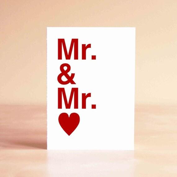 Gay Wedding Card - Gay Wedding Gift - Gay Engagement Card - Gay Engagement Gift - Gay Anniversary Card - Mr. & Mr.