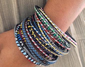 Skinny  Tribal African stackable colorful bracelets bangles- set of 15